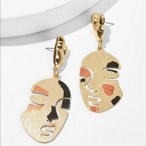 New Metal Face Drop Earrings